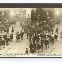 The coronation of H.M. King George V. The royal cortege halts while the King receives an address in Trafalgar