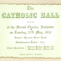 The catholic ball. Gentleman's ticket, 27th May 1952