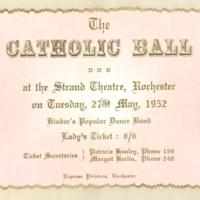 The catholic ball. Lady's ticket, 27th May 1952