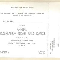 Annual presentation night and dance, 15th September 1950