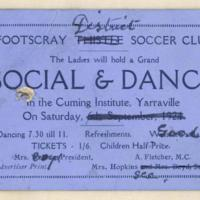 Footscray District Soccer Club social and dance, 1924