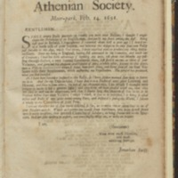 Ode to the Athenian Society, with covering letter