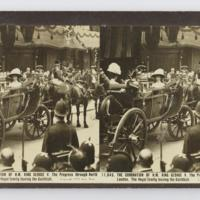 The coronation of H.M. King George V. The Progress through North London. The royal family leaving the Guildhall