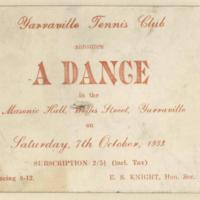 Yarraville Tennis Club dance, 7th october 1933