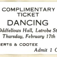 Dancing. complimentary ticket, 17th February, 1927