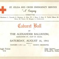 "St. Kilda Red Cross Emergency Service ""A"" Company Cabaret ball, 16th August 1941"