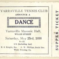 Yarraville Tennis Club dance, 23rd May 1936