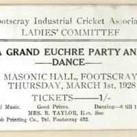 A grand euchre party and dance, 1st March 1928
