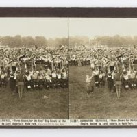 "Coronation Festivites, ""Three Cheers for the King"" Boy Scouts at the Empire Review by Lord Roberts in Hyde Park"