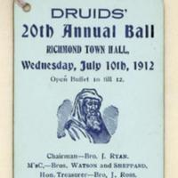 Druids' 20th annual ball, 10th July 1912