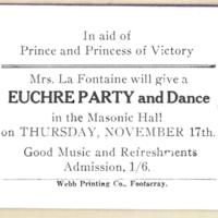 In aid of Prince and Princess of Victory Mrs. La Fontaine will give a euchre party and dance, 17th November 1927