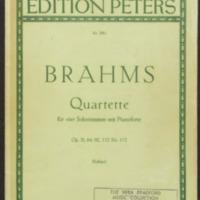 Quartette fur vier solstimmen : mit klavierbegleitung / Johannes Brahms, edited by Kurt Soldan