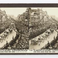 The Coronation of H.M. King George V. The King and Queen drawn by eight cream horses passing through South London
