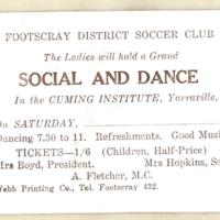 Footscray District Soccer Club. The ladies will hold a grand Social and dance, 1927
