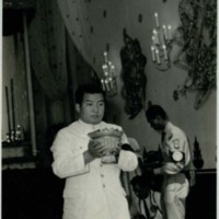 Prince Sihanouk with funeral offering