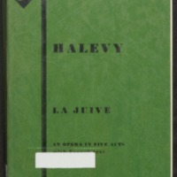 La juive : an opera in five acts with French text / Halevy