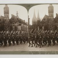 "In Cologne ; where, instead of the ""goose step"" the martial tread of British troops is heard"
