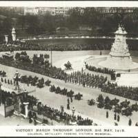 Victory march through London, 3rd May, 1919: Colonial Artillery passing Victoria Memorial