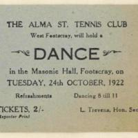 The Alma St. Tennis Club dance. Ticket, 24th October 1922