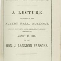 Women as citizens : a lecture delivered in the Albert Hall, Adelaide (before the Young South Australian Patriotic Association) March 21, 1895