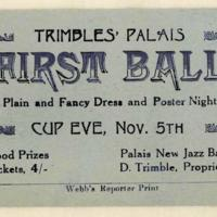 Trimbles' Palais first ball. First Ball. Plain and fancy dress and poster night, 5th November 1923