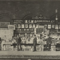 N.S.W. Bookstall Co., bookstall on train platform. Sydney, ca. 1890s