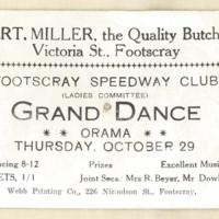 Footscray Speedway Club (Ladies committee) Grand dance, 29th october