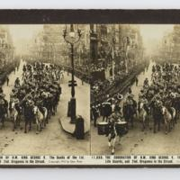 The coronation of H.M. King George V. The Bands of the 1st. Life Guards, and the 2nd. Dragoons in the Strand