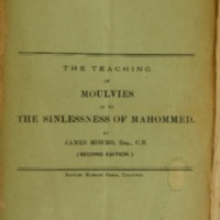 The teaching of Moulvies as to the sinlessness of Mahommed