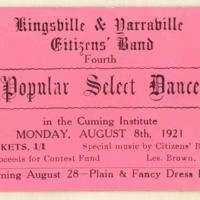 Kingsville and Yarraville Citizen's Band forth popular select dance, 8th August 1921