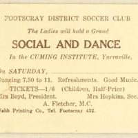 Footscray District Soccer Club social and dance, 1927