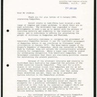 Response from the Australian Acting Minister for Foreign Affairs to Ambassador Jeldres' letter of 4 January 1980