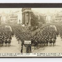 The coronation of H.M. King George V. and Queen Mary. A brilliant spectacle, Lancer regiments in Trafalgar Square