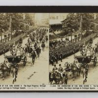 The coronation of H.M. King George V. The royal progress through London. The King's carriage in Trafalgar Square