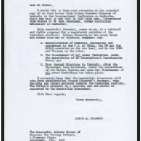 A letter from Ambassador Jeldres to the Australian Minister for Foreign Affairs bringing to his attention a copy of the open letter addressed by Prince Sihanouk to the International Conference on Kampuchea