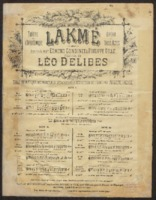 Lakme : scene et legende de la fille du Paria / Léo Delibes, words by Edward Gondinet and Philippe Emile François Gille