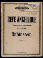 Reve angelique = Kamennoi-ostrow : op. 10, no. 22 / Anton Rubinstein