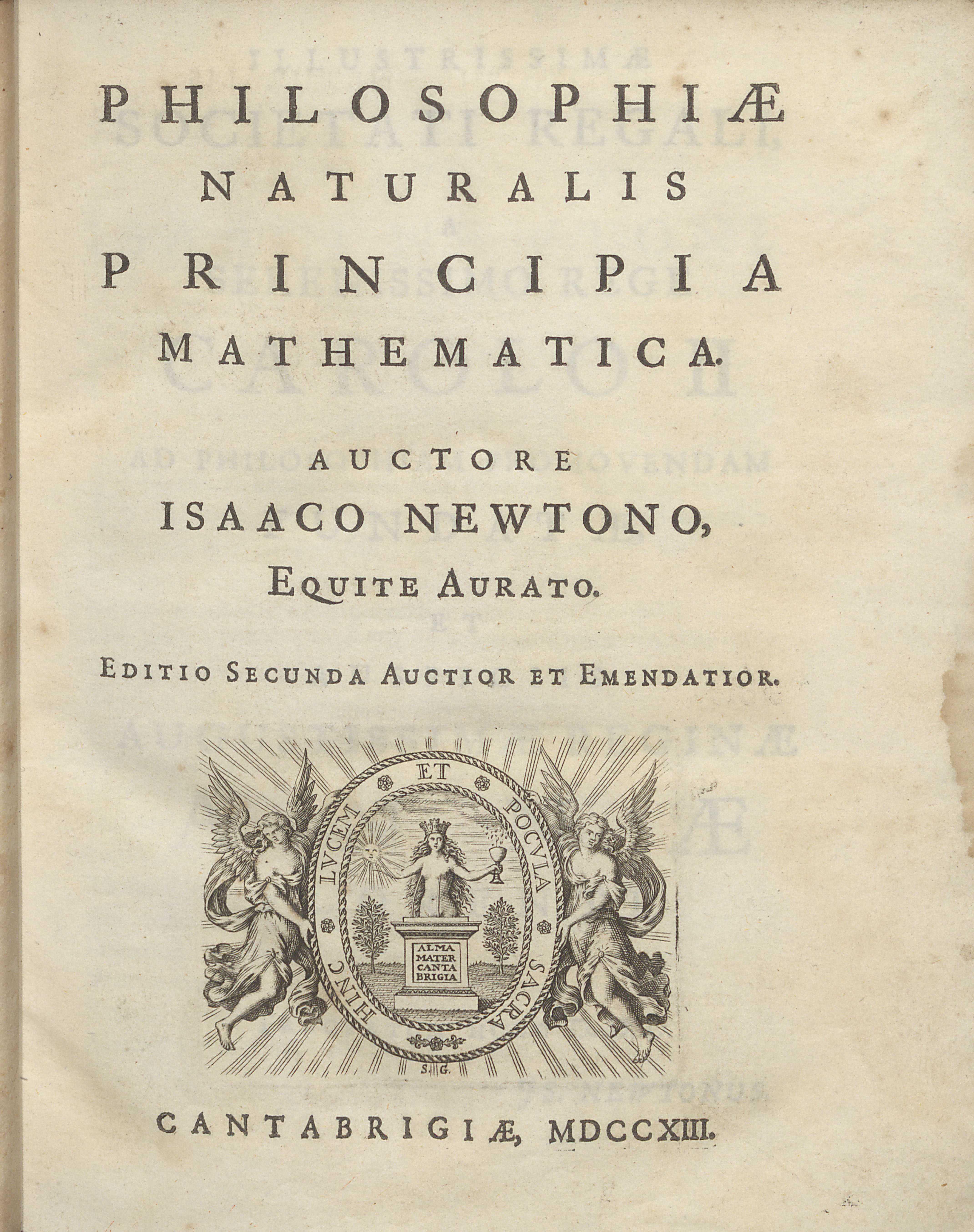 Isaac Newton's Philosophiae Naturalis Principia Mathematica, frontispiece