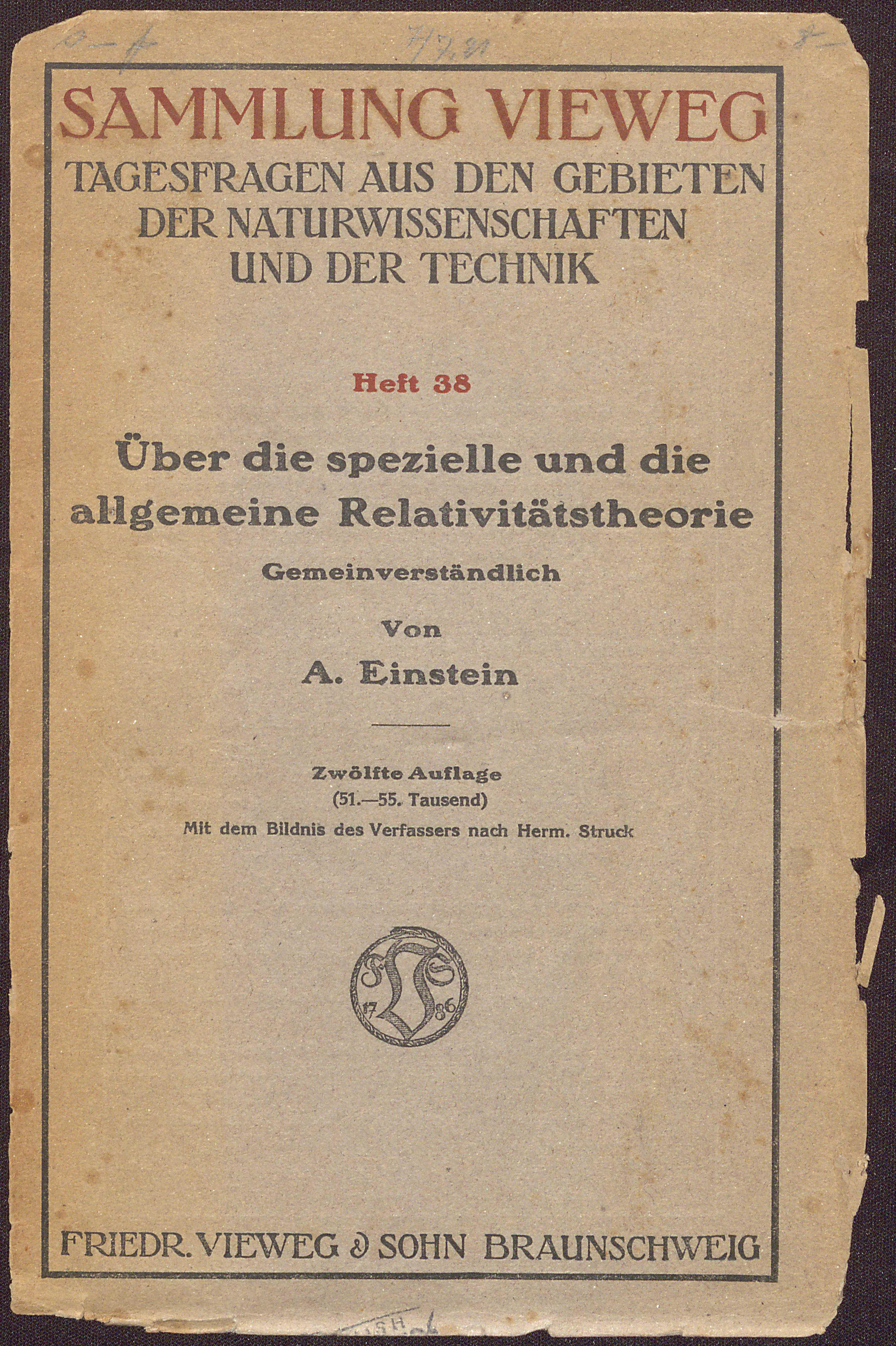 Albert Einstein's Über die Spezielle und die Allegemeine Relativitätstheorie