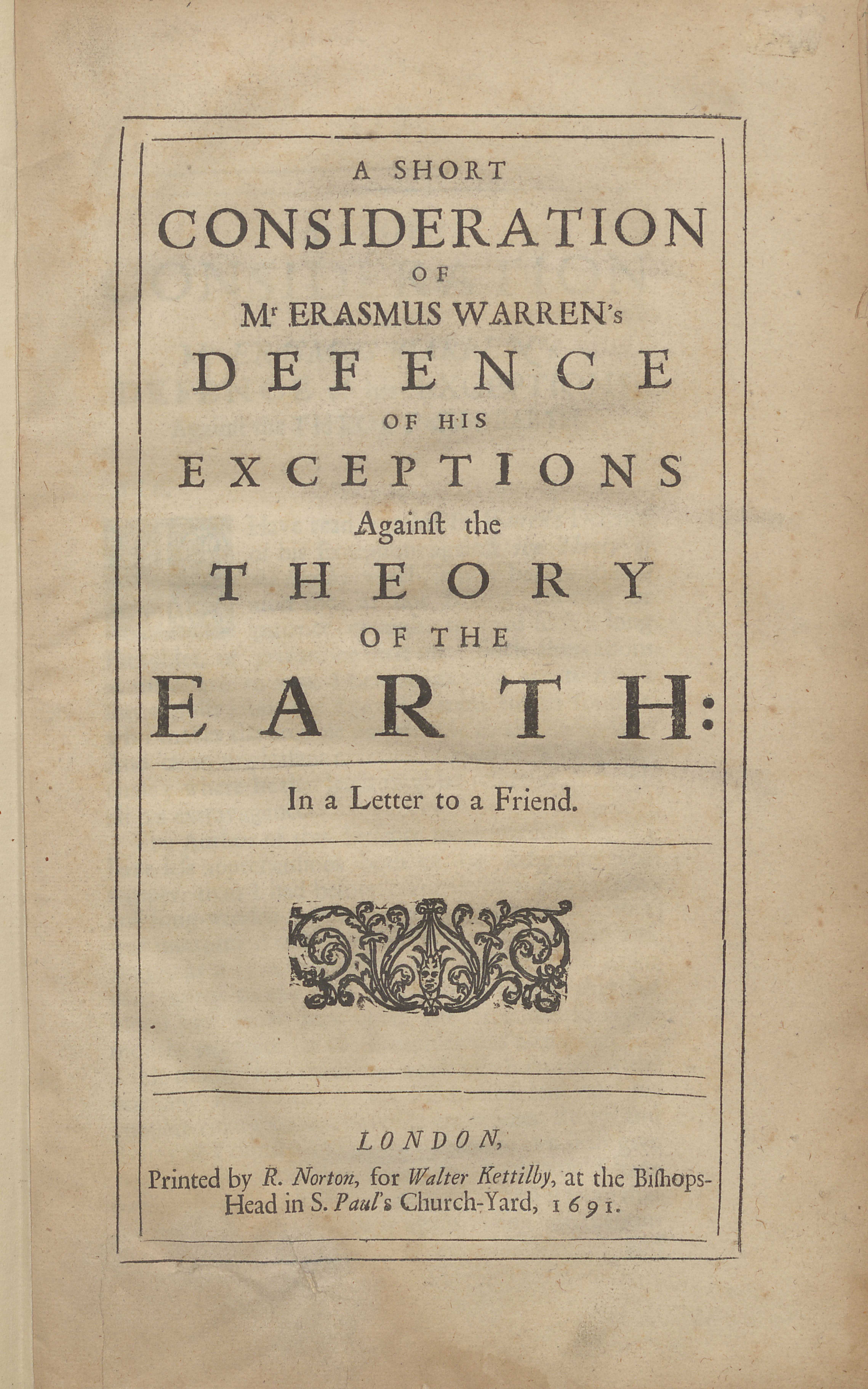 Thomas Burnet's A Short Consideration of Mr. Erasmus Warren's Defence of His Exceptions against the Theory of The Earth, frontispiece