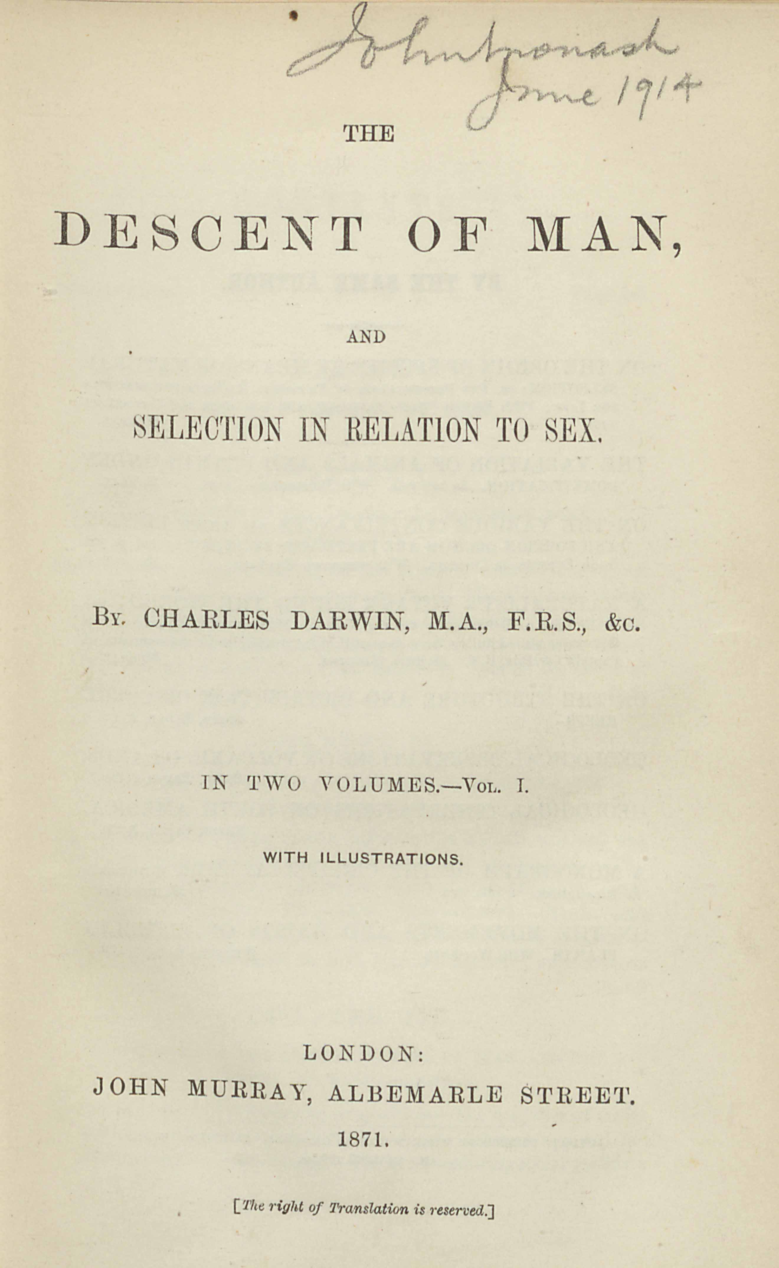 Charles Darwin's The Descent of Man, frontispiece